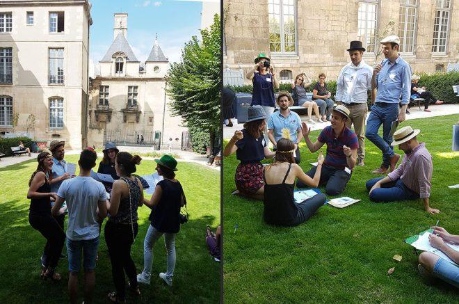 Les équipes interrogent les suspects dans ce charmant parc près de Place des Vosges, Paris