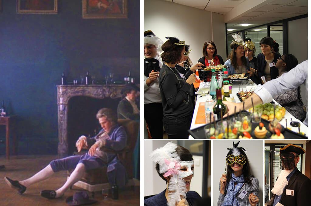 Images des participants de la soirée cluedo en entreprise portant loups et tricornes